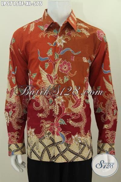 Baju Kemeja Batik ELegan Mewah Untuk Pria Eksekutif, Hem Batik Mahal Premium Size XL Buatan Solo Model Lengan Panjang Full Furing