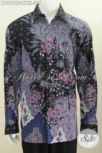 Baju Hem Batik Super Jumbo, Pakaian Batik Lelaki Badan Gemuk Sekali, Kemeja Lengan Panjang Mewah Motif Bagus Tulis Tangan Daleman Pake Furing, Size XXXL