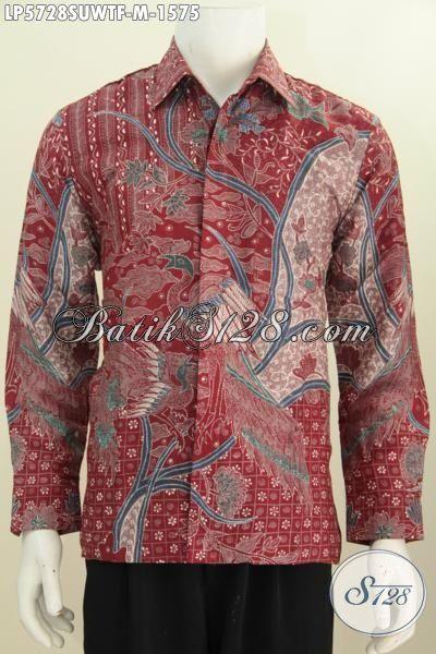 Hem Batik Sutra Warna Merah Dengan Motif Berkelas Untuk Pria Pajabat, Busana Batik Tulis Lengan Panjang Istimewa Bikin Penampilan Lebih Berwibawa, Size M