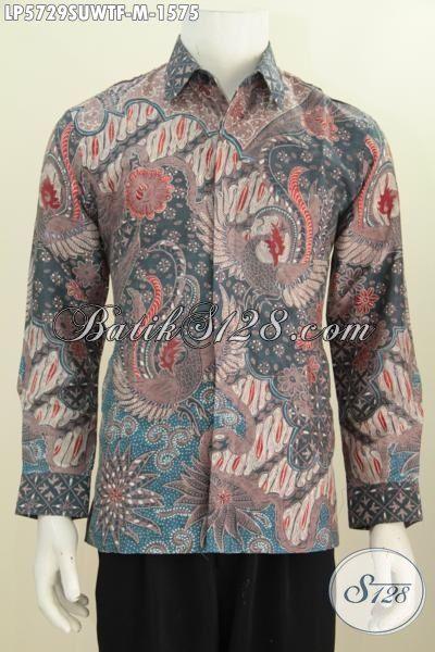 Hem Batik Super Premium Berbahan Sutra Twist Kwalitas Mewah Model Lengan Panjang Full Furing, Kemeja Batik Lengan Panjang Cocok Untuk Para Pejabat Publik, Size M
