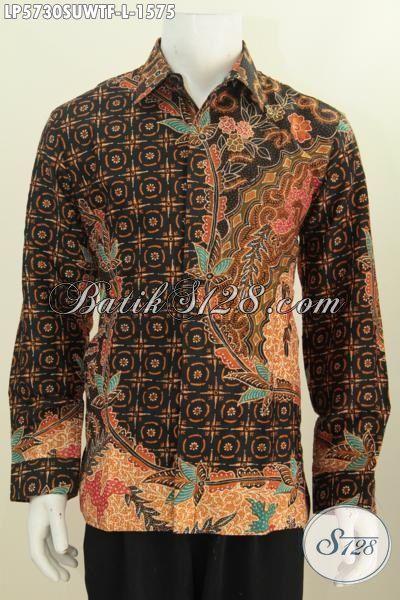 Baju Batik Elegan Mewah Kwalitas Premium, Busana Batik Jawa Halus Berbahan Sutra Kwalitas Tinggi Model Lengan Panjang Pake Furing Cowok Tampil Terlihat Istimewa [LP5730SUWTF-L]
