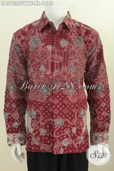 Batik Sutra Pria Lengan Panjang Warna Merah Marun