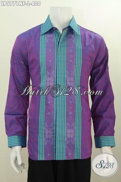 Baju Hem Tenun Modis Istimewa, Pakaian Tenun Lengan Panjang Mewah Halus Size L Daleman Pake Furing Lebih Berkelas