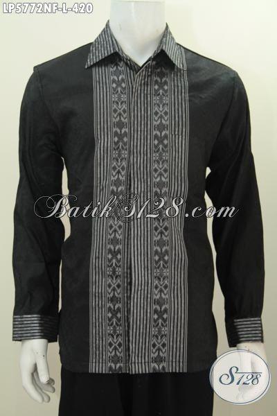 Baju Tenun Hitam Lengan Panjang Motif Mewah, Pakaian Tenun Khas Jawa Tengah Untuk Pria Mud Dan Dewasa Tampil Mewah Berkelas, Size L