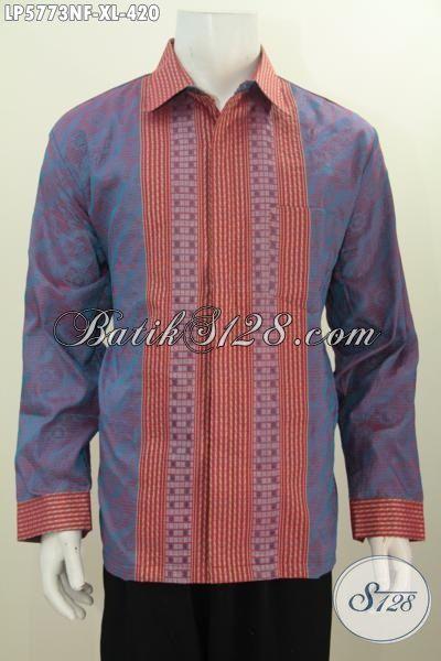 Baju Kerja Lengan Panjang Eksekutif Berbahan Tenun Jawa Tengah, Pakaian Tenun Istimewa Model Lengan Panjang Full Furing Untuk Penampilan Lebih Berwibawa, Size XL