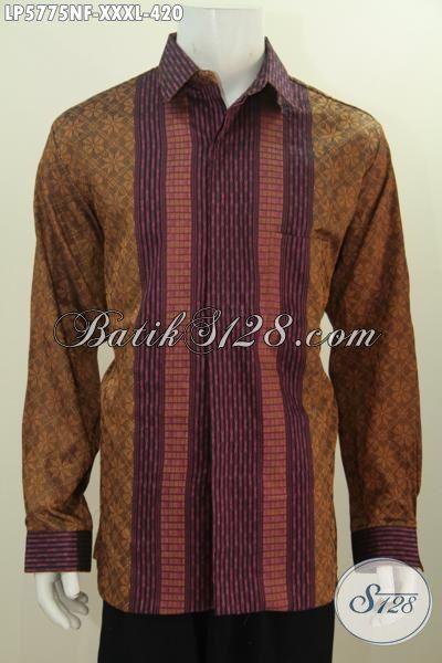 Baju Tenun Mewah Lengan Panjang Full Furing Untuk Pria Gemuk, Pakaian Tenun Warna Terbaru Berpadu Motif Premium Untuk Tampil Gagah Berwibawa, Size XXL