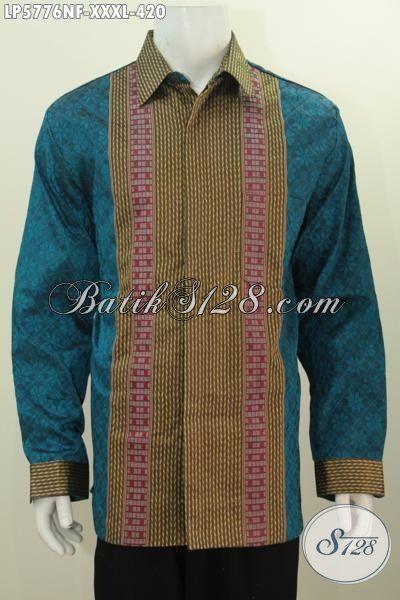 Baju Tenun Super Jumbo 4L, Kemeja Tenun Lengan Panjang Pakai Furing Motif Bagus Bahan Adem Spesl Untuk Lelaki Gemuk Sekali, Size XXXL