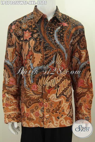 Baju Kemeja Batik Klasik Mewah Berebahan Sutra Istimewa, Hem Lengan Panjang Tulis Tangan Daleman Full Furing Ukuran XXL Harga 1.5 Jutaan
