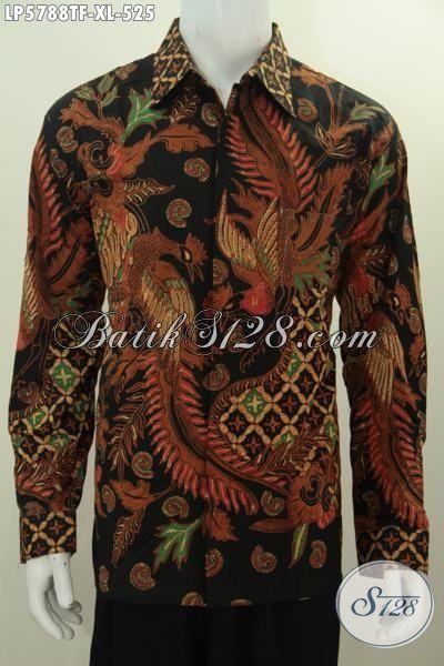 Hem Batik Modis Mewah Proses Tulis Ukuran XL, Pakaian Batik Pria Dewasa Motif Terkini Model Lengan Panjang Pakai Furing Untuk Penampilan Lebih Berkarakter
