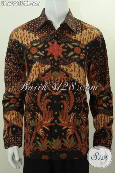 Jual Fashion Batik Untuk Cowok Kwalitas Mewah, Hem Batik Mahal Model Lengan Panjang Motif Bagus Proses Tulis Tangan Daleman Pake Furing [LP5789TF-XL]