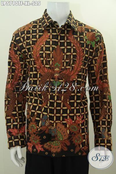 Hem Batik Elegan Dan Mewah Model Lengan Panjang Full Furing, Baju Batik Cowok Desain Formal Proses Tulis Cocok Buat Rapat, Size XL