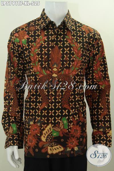 Sedia Hem Batik Klasik Modis Halus Proses Tuis Tangan, Pakaian Batik Premium Buatan Solo Model Lengan Panjang Full Furing Bikin Penampilan Lebih Gagah Dan Berkelas, Size XL