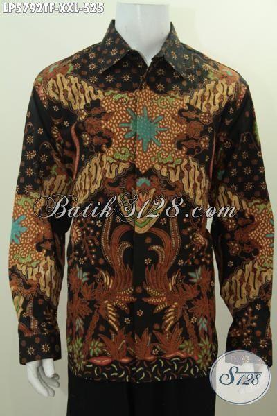 Pakaian Batik Jumbo Lengan Panjang Motif Mewah, Busana Batik Modis Halus Ukuran 3L Untuk Lelaki Tampil Lebih Gaya, Baju Batik Pria Gemuk Full Furing Proses Tulis Tangan Size XXL