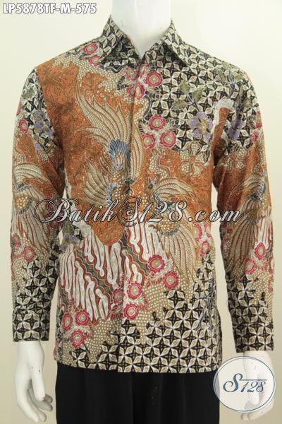 Produk Hem Batik Premium Lengan Panjang Istimewa Ukuran M, Baju Batik Mewah Halus Proses Tulis Tangan, Busana Batik ELegan Daleman Full Furing Penampilan Makin Mempesona