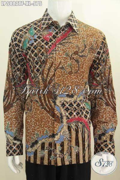 Batik Hem Premium Kwalitas Istimewa Lengan Panjang Berkelas, Jual Online Pakaian Batik Modis Berbahan Halus Tulis Tangan Dengan Daleman Pake Furing Untuk Penampilan Makin Istimewa, Size XL