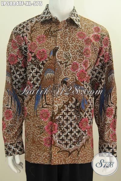 Jual Kemeja Batik Premium Tulis Tangan, Baju Batik Mewah Berkelas Khas Jawa Tengah Berbahan Halus Model Lengan Panjang Pakai Furing Tampil Makin Gagah, Size XL