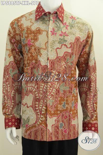 Hem Batik Solo Modis Desain Formal Lengan Panjang, Kemeja Batik Tulis Untuk Rapat, Berbahan Halus Daleman Pakai Furing Penampilan Lebih Premium, Size XXL