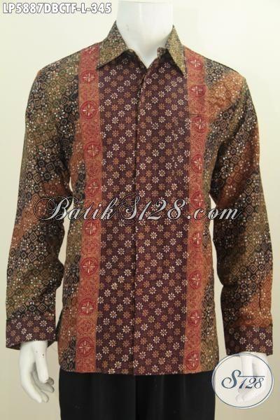 Baju Kemeja Elegan Modis Bahan Batik Cap Tulis Kwalitas Premium Berbahan Kain Doby, Baju Batik Lengan Panjang Motif Terkini Daleman Full Furing Harga 345K, Size L