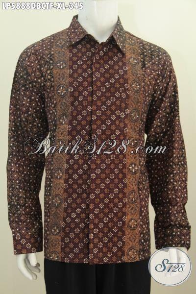Hem Batik Lengan Size XL Model Lengan Panjang, Pakaian Batik Istimewa Full Furing Motif Bagus Proses Cap Tulis Untuk Penampilan Lebih Berkelas