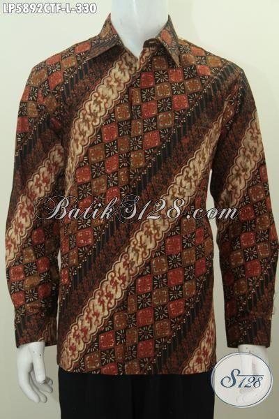 Batik Hem Elegan Motif Klasik, Produk Baju Batik Istimewa Lengan Panjang Full Furing Kwalitas Bagus Proses Cap Tulis Pas Banget Untuk Rapat, Size L