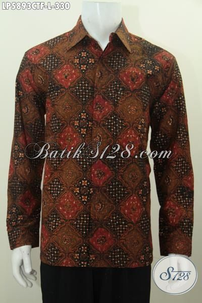 Jual Online Kemeja Batik Halus Ukuran L, Pakaian Batik Elegan Mewah Motif Terkini Proses Cap Tulis, Baju Batik Full Furing Berkelas Cocok Untuk Kondangan, Size L