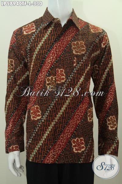 Baju Hem Batik Motif Parang Bunga Model Lengan Panjang Daleman Full Furing, Produk Busana Batik Elegan Mewah Cap Tulis Bisa Untuk Formal Dan Santai, Size L