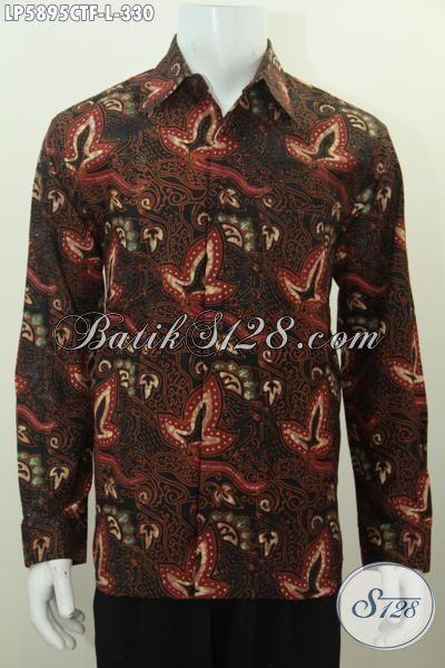 Baju Batik Elegan, Hem Batik Lengan Panjang Full Furing, Busana Batik Motif Bagus Proses Cap Tulis, Modis Buat Acara Formal Dan Busana Meeting [LP5895CTF-L]