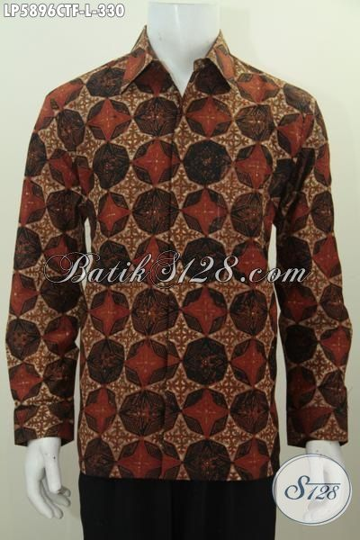 Sedia Hem Batik Istimewa Berbahan Halus Ukuran L, Pakaian Batik Lengan Panjang Mewah Proses Cap Tulis Untuk Tampil Lebih Istimewa Dengan Daleman Full Furing