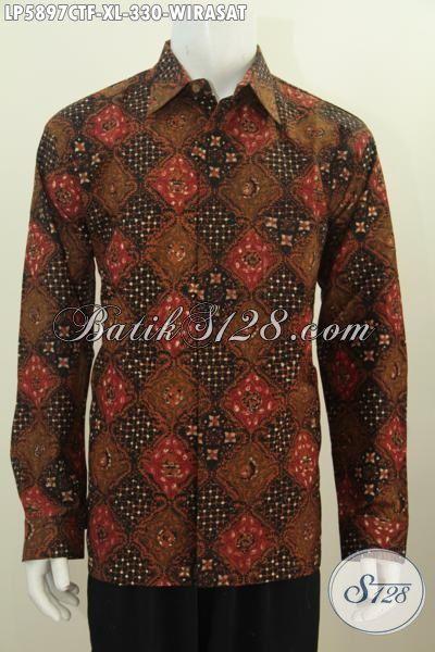 Di Jual Online Hem Batik Ukuran XL, Pakaian Batik Pria Dewasa Berbahan Halus Motif Elegan Cap Tulis, Baju Batik Lengan Panjang Pake Furing Modis Dan Mewah Hanya 330K