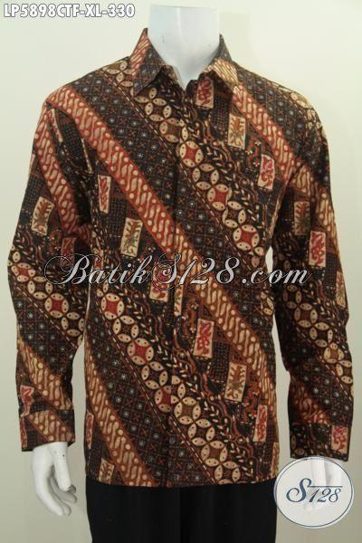 Baju Kemeja Batik Elegan Mewah Bahan Adem Kwalitas Premium, Busana Batik Halus Lengan Panjang Full Furing Motif Terkini Proses Cap Tulis, Size XL