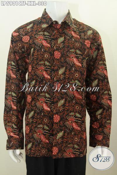 Kemeja Batik Cap Tulis  Ukuran Jumbo Model Lengan Panjang, Pakaian Batik Halus Istimewa Daleman Full Furing Untuk Lelaki Gemuk Terlihat Gagah, Size XXL