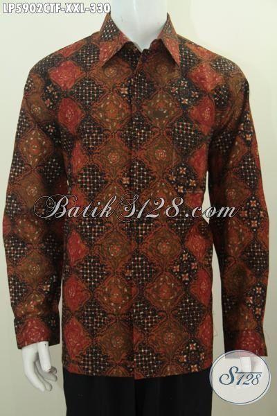 Produk Baju Batik Hem Lengan Panjang Elegan, Busana Batik Modis Halus Kwalitas Bagus Proses Cap Tulis Cocok Untuk Acra Resmi, Size XXL