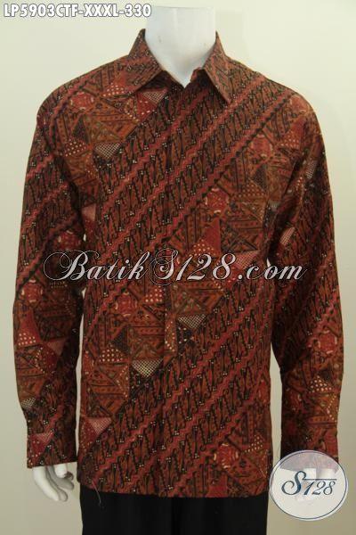 Kemeja Batik Cowok Super Jumbo, Baju Kemeja Batik Istimewa Khas Jawa Tengah Ukuran 4L, Pakaian Batik Modis Istimewa Proses Cap Tulis Untuk Pria Badan Gemuk Sekali, Size XXXL