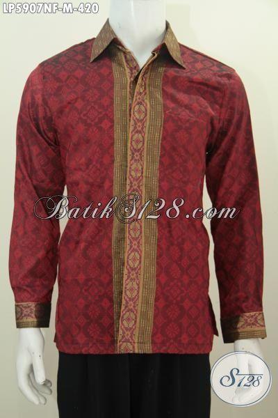 Baju Hem tenun Merah Lengan Panjang Motif Terkini Yang Membut Pria Tampak Gagah Dan Tampan, Baju Tenun Lengan Panjang Full Furing Size M Harag 420K