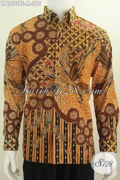 Hem Batik Klasik Premium Model Lengan Panjang, Baju Batik Mewah Motif Bagus Proses Tulis Dengan Daleman Pake Furing Untuk Terlihat Gagah Dan Menawan [LP6073TF-M]