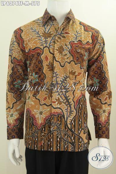 Baju Kerja Batik Mewah Bahan Halus Motif Klasik Proses Tulis Tangan, Kemeja Batik Lengan Panjang Full Furing Kesukaan Para Eksekutif Muda, Size M