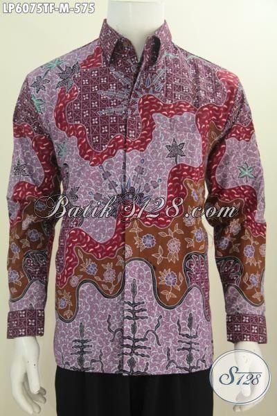 Jual Baju Batik Premium 575K, Hem Batik Lengan Panjang Berkelas Model Lengan Panjang Motif Bagus Banget Proses Tulis Tangan Daleman Pake Furing, Size M