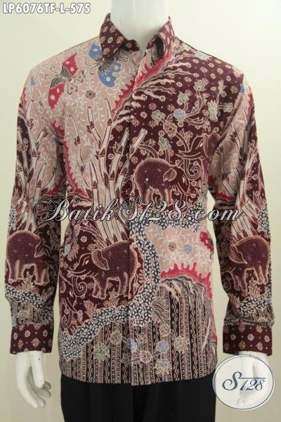Hem Batik Halus Motif Bagus Proses Tulis Tangan Asli, Kemeja Batik Mewah Full Furing Lengan Panjang Untuk Penampilan Makin Gagah, Size L
