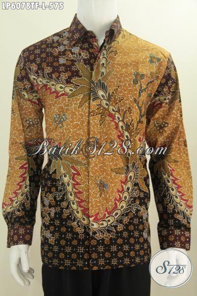 Baju Batik Mewah Lengan Panjang Motif Klasik, Produk Baju Batik Premium Full Furing Proses Tulis Asli Buatan Solo Harga 575K, Size L