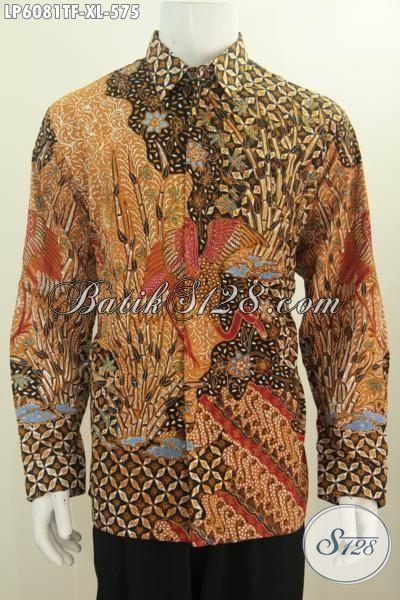 Jual Kemeja Batik Mahal Khas Jawa Tengah, Hem Batik Tulis Lengan Panjang Premium Daleman Pake Furing Size XL Harga 575 Ribu