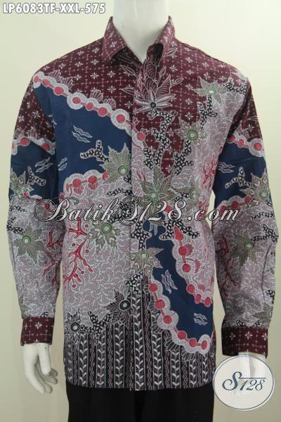 Jual Baju Batik Mewah Pria Gemuk Ukuran 3L, Pakaian Batik Premium Lengan Panjang Motif Terbaru Proses Tulis Tangan Harga 575K Untuk Penampilan Lebih Berkelas, Size XXL