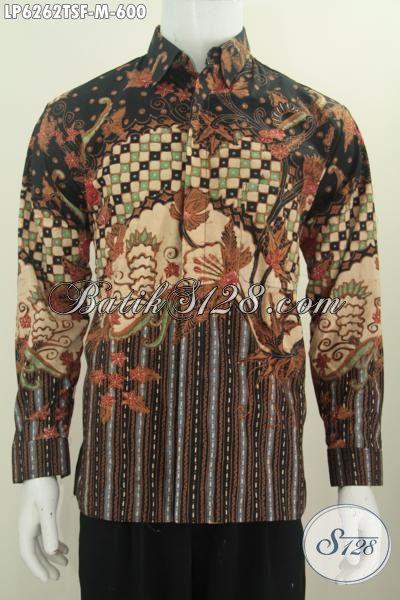 Hem Batik Lengan Panjang Mewah Ukuran M, Produk Busana Batik Elegan Mewah Buatan Solo Motif Terkini Proses Tulis Soga Daleman Pake Furing