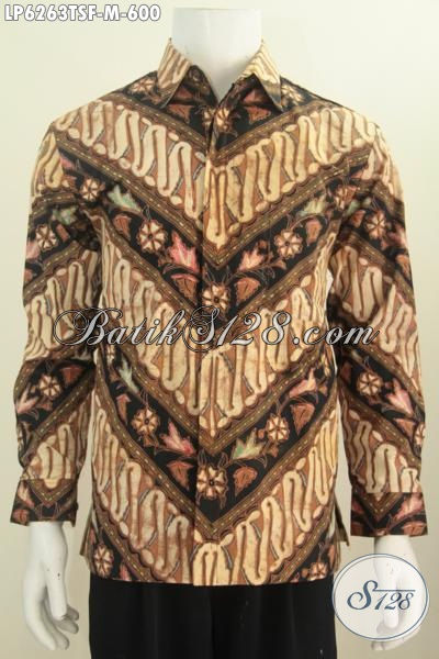 Jual Online Hem Batik Klasik Mewah Halus Tulis Soga Model Lengan Panjang Berkelas Daleman Full Furing Untuk Tampil Berwibawa, Size M