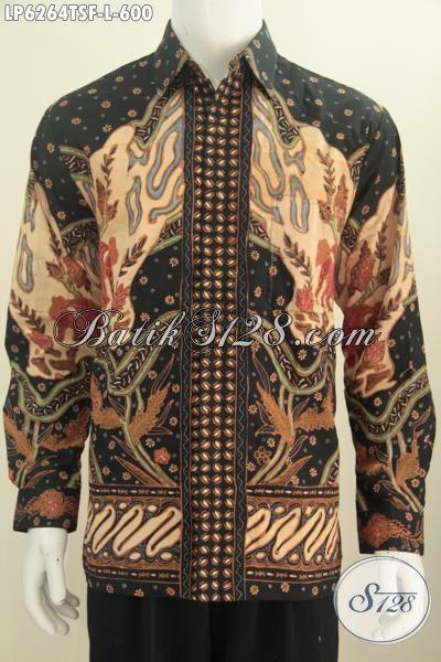 Baju Batik Premium Dengan Desain Modis Dan Keren Berpadu Motif Mewah Proses Tulis Soga, Pakaian Batik Premium Lengan Panjang Size L Pria Terlihat Gagah