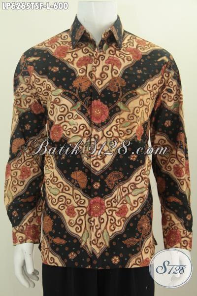 Produk Terbaru Busna Batik Premium Motif Klasik Bunga-Bunga, Baju Batik Lengan Panjang Proses Tulis Soga Berbahan Adem Trend Masa Kini Daleman Pake Furing, Size L