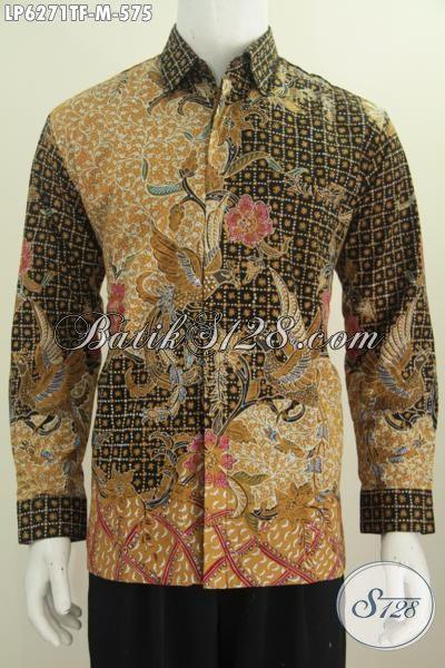 Sedia Kemeja Batik Premium Seragam Kerja Para Executive Masa Kini, Berbahan Halus Motif Mewah Model Lengan Panjang Full Furing Proses Tulis Tangan Asli, Size M