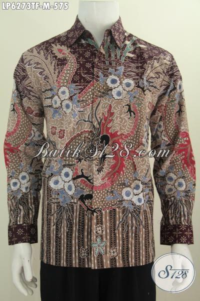 Jual Pakaian Batik Istimewa Model Lengan Panjang, Kemeja Batik Mewah Buatan Solo Proses Tulis Daleman Di Lengkapi Furing, Istimewa Buat Acara Formal [LP6273TF-M]