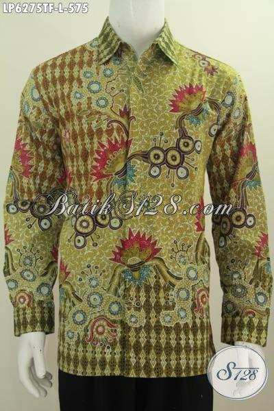 Baju Hem Batik Mewah Warna Hijau, Produk Kemeja Batik ELegan Halus Proses Tulis Berbahan Adem Model Lengan Panjang Yang Bikin Pria Terlihat Gaya Dan Istimewa, Size L
