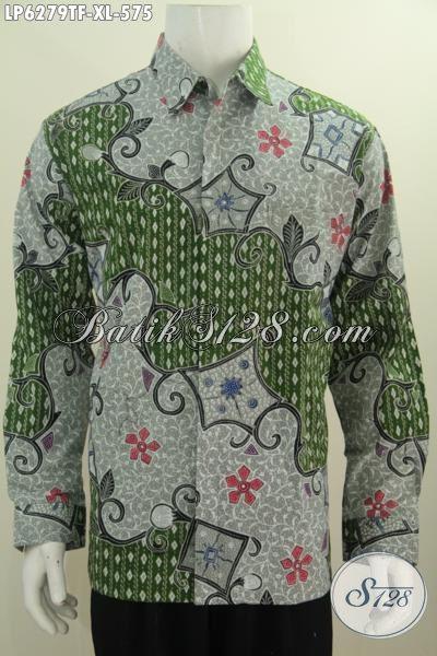 Baju Hem Lengan Panjang Batik Motif Bagus Ukuran L Warna Hijau, Busana Batik Full Furing Mewah Harga 575K, Tampil Lebih Tampan Dan Macho