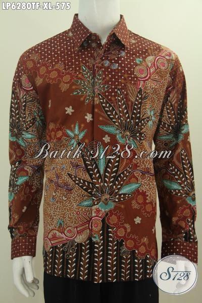 Baju Kemeja Batik Elegan, Hem Batik Lengan Panjang Mewah Premium, Produk Busana Batik Istimewa Seragam Kerja Lengan Panjang Full Furing Motif Proses Tulis Tangan Asli, Size XL